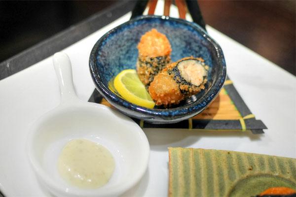 Zensai: Renkon Lotus Root Mochi with Shrimp