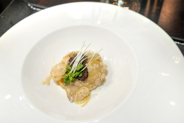 Shiizakana, spaghettini with abalone, pickled cod roe, Burgundy truffles
