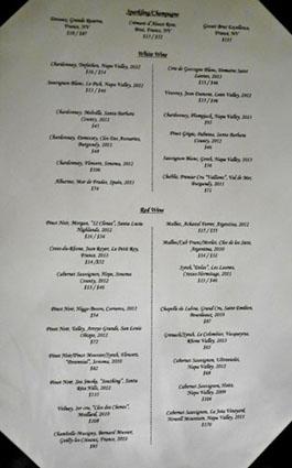 JiRaffe Wine List