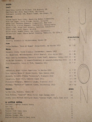 Union Beverage List