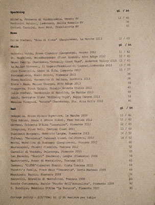 Union Wine List