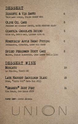 Union Dessert Menu