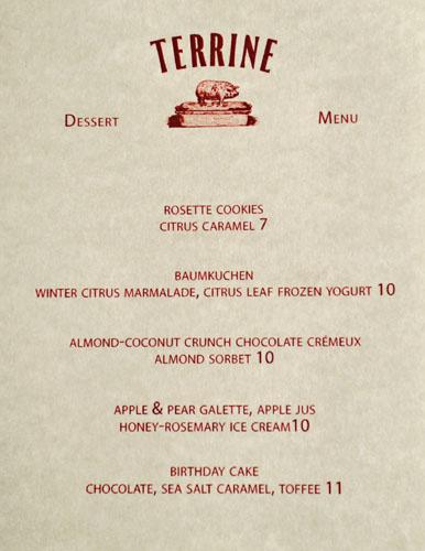 Terrine Dessert Menu