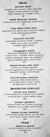 Phantom Carriage Food Menu
