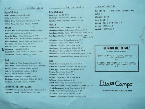 Dia de Campo Wine List