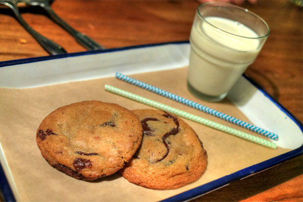 Bourbon Milk & Warm Chocolate Chip Cookies