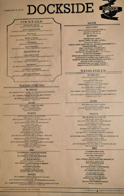 Playa Provisions - Dockside Beverage List