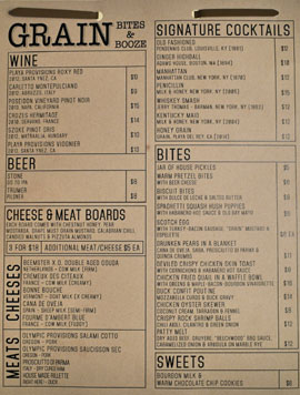 Playa Provisions - Grain Menu
