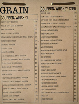 Playa Provisions - Grain Whiskey List: Bourbon/Whiskey