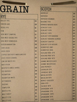 Playa Provisions - Grain Whiskey List: Rye, Scotch