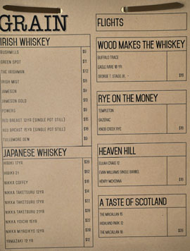 Playa Provisions - Grain Whiskey List: Irish Whiskey, Japanese Whiskey, Flights
