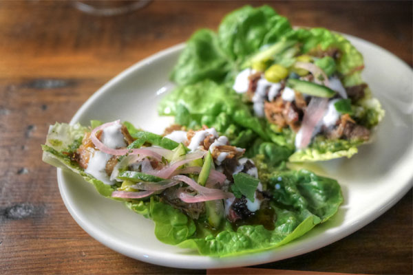 Smoked shredded lamb lettuce cups