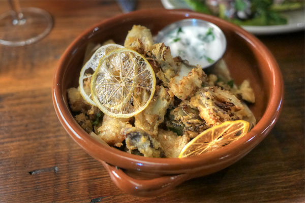 Fried wild mushrooms, Persian garlic sauce