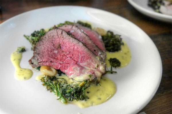 Slow grilled Wagyu tri-tip, charred broccolini, O+P béarnaise