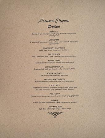 Preux & Proper Cocktail List