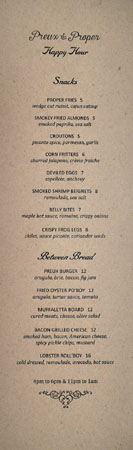 Preux & Proper Happy Hour Menu