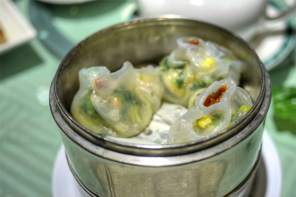 Steamed Shrimp & Pea Tips Dumplings