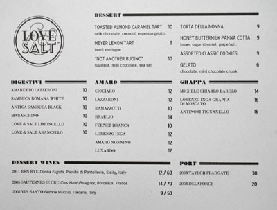Love & Salt Dessert Menu