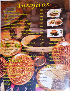 Las Molenderas Menu: Antojitos / Salads / Drinks