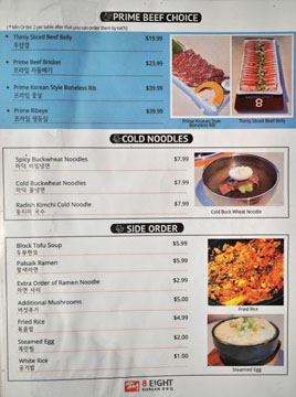 Eight Korean BBQ Menu: Prime Beef Choice, Cold Noodles, Side Order