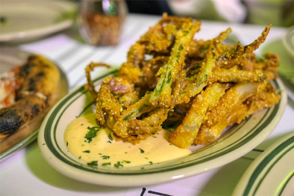 cornmeal fried spring onion, chili aioli