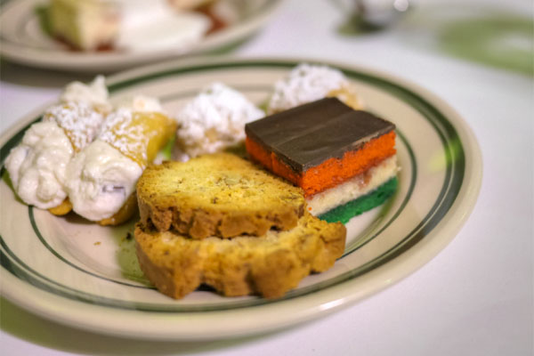 italian cookie plate: pistachio wedding, rainbow, biscotti, cannoli