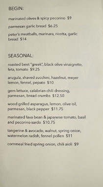 Jon & Vinny's Menu: Begin / Seasonal