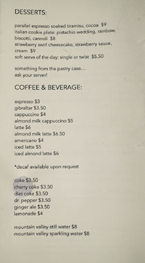Jon & Vinny's Menu: Desserts / Coffee & Beverage