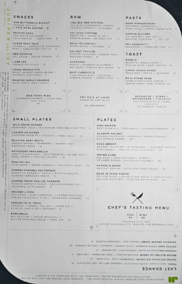 Juniper & Ivy Menu