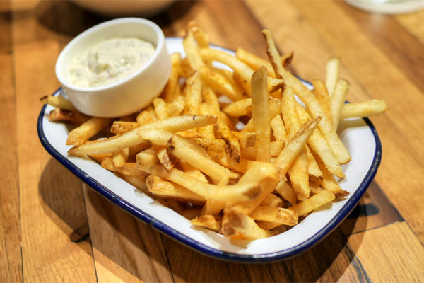 old bay fries with tartar sauce