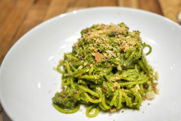 spaghetti, dungeness crab, ramp butter, chiles, breadcrumbs, preserved lemon