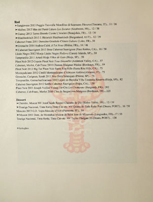 Catch & Release Wine List