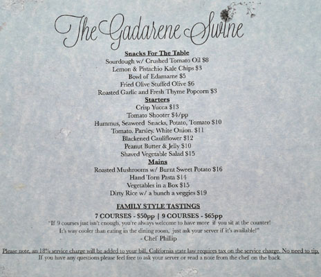 The Gadarene Swine Menu