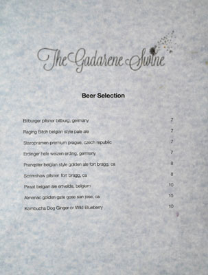 The Gadarene Swine Beer List