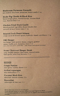 Ox & Son Menu