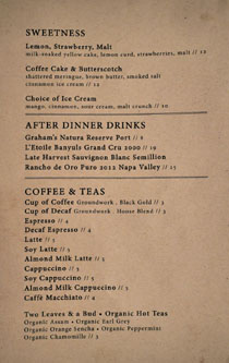 Ox & Son Dessert Menu