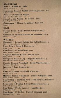 Ox & Son Wine List