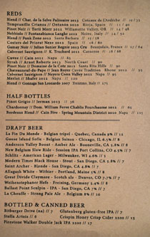 Ox & Son Wine/Beer List