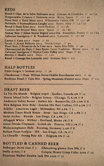 Ox & Son Wine/Beer List