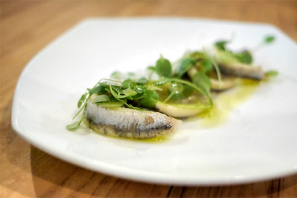 white anchovies, watercress and celery, manchego