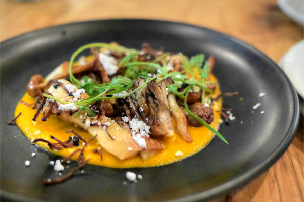 wild mushrooms a la plancha, duck jus, heirloom carrots, eucalyptus