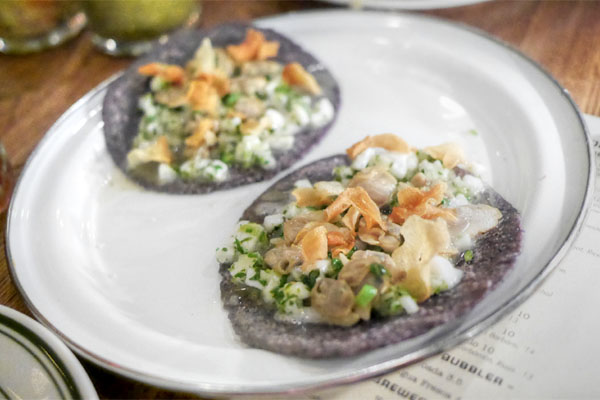 Clams & Lardo Tacos