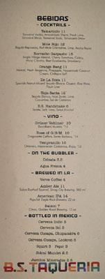 B.S. Taqueria Beverage List