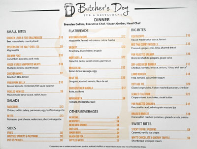 Butcher's Dog Menu