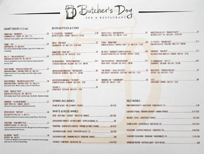 Butcher's Dog Beer & Wine List