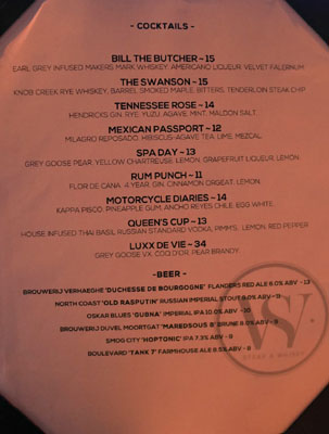 Steak & Whisky Cocktail & Beer List