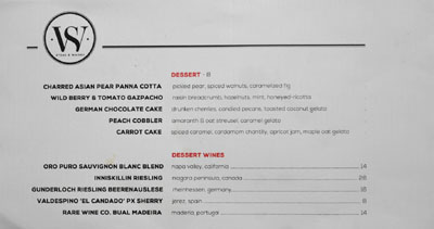 Steak & Whisky Dessert Menu