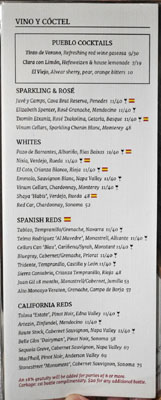 Pueblo Wine List
