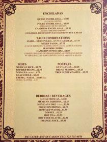 Taqueria Los Anaya Menu: Enchiladas, Taco Combinations, Sides, Postres, Bebidas