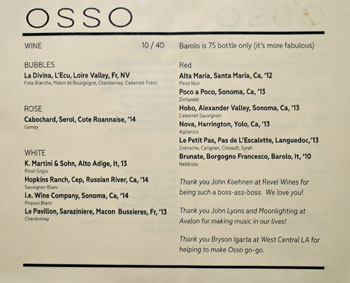 Osso Wine List